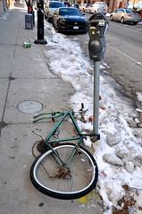 Stolen tire (Taramedic, RN) Tags: chicago street parking meter