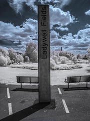Ladywell Fields (blackwoodse6) Tags: park uk blue england london clouds canon ir lewisham bluesky infrared southlondon ladywell falsecolour southeastlondon londonparks infraredphotography se13 720nm ladywellfields londonboroughoflewisham canong10