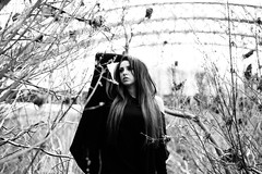 Shoegaze (Mark Brim) Tags: black white model girl hot alt sexy reeds england uk photoshoot pose long hair bridge