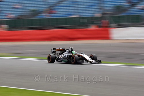 Nico Hülkenberg in his Force India during Free Practice 2 at the 2016 British Grand Prix