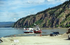 Dawson City Ferry - Yukon  (Explored) (JLS Photography - Alaska) Tags: water ferry river boat outdoor cliffs yukon dawsoncity yukonriver dawsoncityferry jlsphotographyalaska