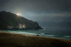 Point Sur Light - Textured (byron bauer) Tags: ocean light sea lighthouse mist painterly color texture beach rock fog clouds coast haze sand waves darkness bigsur impression muted simplify becon byronbauer