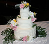 Butter Cream Lines and Fresh Flowers Wedding Cake