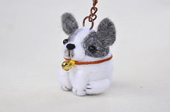 French bulldog keychain (noristudio3o) Tags: french bulldog bull dog frenchie keychain key holder ring animal needle felted felting felt pet gift giftideas black white gray noristudio nori studio