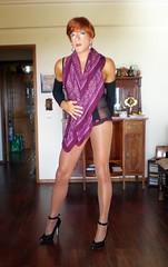 Karen (Karen Maris) Tags: tg tgirl tgurl karen crossdress crossdresser stilletos heels transgender transsexual transvestite legs pantyhose tights scarf redhead tranny trannie