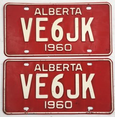 ALBERTA 1960 ---AMATEUR RADIO PLATE PAIR #VE6JK (woody1778a) Tags: alberta albertahistory hamoperator npcc196 alpca1778 registrationplate numberplate licenseplate amateurradio canada