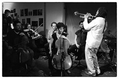 Wadada Leo Smith/Mark Sanders/John Edwards/Luiz Moretto/Alison Blunt/Benedict Taylor/Paloma Carrasco/Marcio Mattos/David Leahy/Hardedge @ Cafe Oto, London, 23rd July 2016 (fabiolug) Tags: trumpet strings wadadaleosmith marksanders johnedwards luizmoretto alisonblunt benedicttaylor palomacarrasco marciomattos davidleahy hardedge improvisation improv cafeoto london dalston music gig performance concert live livemusic leicammonochrom mmonochrom monochrom leicamonochrom leica leicam rangefinder blackandwhite blackwhite bw monochrome biancoenero leicaelmarit28mmf28asph elmarit28mmf28asph elmarit28mm leicaelmarit28mm 28mm elmarit leicaelmarit wide wideangle