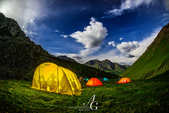 Alone in the World (TranceVelebit) Tags: kyrgyzstan terskey alatau teskey alatoo tien shan central asia mountain mountains range camping high altitude tent tents colorful light illuminated night clouds cloudscape stars moonlight moonlit sky