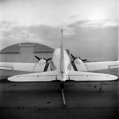DC-3 (Bill Bresler) Tags: bw rolleiflex airplane ypsilanti dc3 yankeeairforce verichromepan willowrunairport abcpyrodeveloper