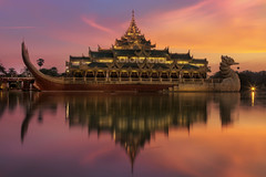 The Intense Sunset With The Karaweik Palace along Kandawgyi Lake, Yangon, Myanmar (Burma) :: HDR (:: Artie | Photography :: Travel ~ Oct) Tags: sunset lake photoshop canon outdoor yangon burma tripod royal landmark icon palace myanmar burmese barge ef hdr rangoon artie cs3 1635mm 3xp photomatix f28l tonemapping karaweik tonemap karaweikhall kandawgyilake mythicalbird 5dmarkii 5dm2 karaweikpalace