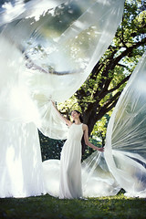 Wind and Wings (elisabethmo) Tags: woman white nature girl fashion angel wings dress wind