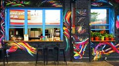 Mixtape. (Linh H. Nguyen) Tags: street streetart abstract art colors brooklyn graffiti mural coffeeshop bushwick eatery vscofilm galaxys6 s6edge mixtapebk