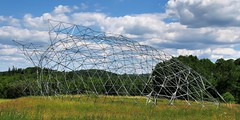 Distended geodesic - Midlothian Castle 'Screaming Heads' sculpture farm, Burk's Falls, Ontario (edk7) Tags: sky cloud ontario canada building art architecture rural countryside farm country structure installation sculpturegarden 2016 burksfalls petercamani parrysounddistrict almaguinhighlands screamingheads midlothiancastle edk7 olympuspenliteepl5 distendedgeodesic
