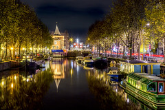 Amsterdam After Dark (harvey.doane) Tags: reflection water amsterdam boats lights canal stillness barge