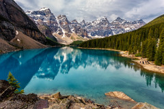 Moraine Lake (djryan78) Tags: morning travel trees summer cloud mountain lake snow canada mountains reflection tree water clouds forest canon landscape nationalpark cloudy outdoor alberta valley banff rockymountains dslr 1740 moraine banffnationalpark 6d morainelake 1740l canadianrockies valleyofthetenpeaks glaciatedvalley tenpeaks canon6d
