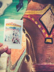Carrousel (ildikoannable) Tags: kids fun guelph instant riversidepark carrousel filmfujiinstaxanalog
