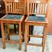 Tall solid wood bar stool