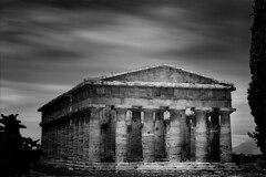 Paestum I (Minas Stratigos) Tags: black white fine art paestum temple ruin ancient greece magna grecia south italy long exposure bw nd filter sky light envision minas travel