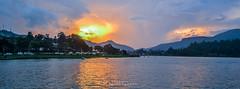 Sunsetting over mountain (ajanth.v) Tags: sunrise mountain mountainside lake water skyline nikon d3100 1855mm srilanka nuwara eliya