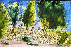 Ein Karem, Jerusalem, Israel - pen and watercolour sketch (novarex1) Tags: art drawing watercolour watercolor sketch urban sketching trees stone wall ein karem jerusalem israel