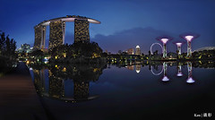 MBS + Super trees @Blue Hr (Ken Goh thanks for 2 Million views) Tags: mbs mrina bay sands gardenbythebay singapore flyer blue sky longexposure landscape colors water reflection hour supertree stitch panaroma pentax k1 sigma 1020