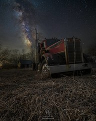 """""""Night Rig"""" by @HomeGroenPhotography  HomeGroenPhotography.com (HomeGroenPhotography) Tags: instagramapp uploaded:by=instagram abandoned semi bigrig milkyway astophotography galaxy space aarongroen homegroenphotographycom southdakota"""