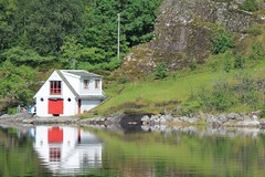 Small house by the fjord (tws8585) Tags: outdoors boat river cruise fjord norway europe scandinavia nordic cottage house green grass summer peace reflection water mountain white scenery beautiful relax