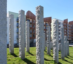 Uprights (Blorengia) Tags: standingstones portishead sculpture buildings housing flats