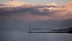 The man, the mist and the three birds (marielledevalk) Tags: merwede dutch holland landscape morning sky clouds man river water mist