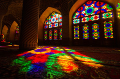 Colorful Morning (RJDonga) Tags: iran persia middle east shiraz light colours colors sight window masjid mosque beatiful islam muslim morning nasir ol molk architecture pinkmosque