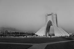 Tehran Azadi (Stefano-Bosso) Tags: bw white black tower love monochrome canon photography mono travels iran persia shia traveling tehran teheran aside whiteblack parsi btw shiites isalm noietblanc