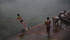 Varanasi Ganga dive (Stefano-Bosso) Tags: people india travelling colors kids river travels ngc dive silk varanasi traveling ganga banaras streetshot benares photojournal uttarpradesh stefanobosso