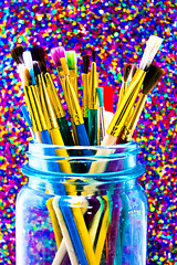 Artist Inspiration: Lisa Frank (JX) Tags: art glitter frank rainbow paint neon mason lisa jar technicolor multicolor paintbrushes
