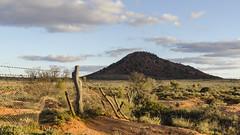 Triangle Hill (Eduardo_il_Magnifico) Tags: sunset sky clouds fence landscape outdoors australia outback southaustralia goldenhour bimbowrie olary weekeroo nikon35mmf18 nikond7000 trianglehill
