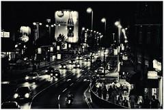 Beogradski trenutak   Belgrade's moment (Portal Dokolica) Tags: blackandwhite outdoor citylights citystreets belgrade cityatnight sincity citytraffic dokolica