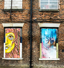 lion eyes and drama on the wall (PDKImages) Tags: urban streetart art mill abandoned beauty lady contrast manchester graffiti eyes colours anger lips fortune hidden angry drama fortuneteller unexpected teller liom