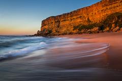 Praia da Foz backwash (snowyturner) Tags: light sunset portugal landscape waves cliffs atlantic backwash
