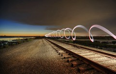 Time flies when you have fun (PeterThoeny) Tags: alviso california bay sanfranciscobay train traintrack light lighttrail lightpainting spiral helix cloudy clouds night dusk 1xp raw nex6 photomatix selp1650 sanjose siliconvalley outdoor sky cloud donedwardssanfranciscobaynationalwildliferefuge donedwardsnationalwildliferefuge donedwards wildliferefuge qualityhdr qualityhdrphotography fav200 railroad hdr