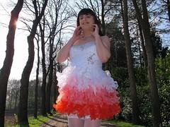 Precious smile (Paula Satijn) Tags: road trees red white hot sexy stockings girl smile sunshine fun outside dress girly feminine joy skirt tgirl gown miniskirt gurl stockingtops