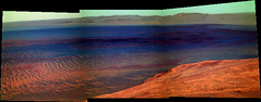 Endeavour Crater Panorama (sjrankin) Tags: 14july2016 edited nasa mars colorized bands257 opportunity endeavourcrater rgb panorama
