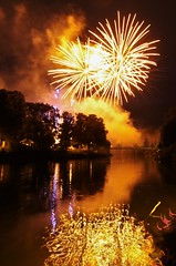 Gold spray (Sundornvic) Tags: shrewsbury flowershow fireworks river severn quarry park water wet reflections reflection bridge light show shropshire display