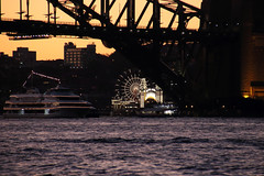 Lights and clutter (Paul Threlfall) Tags: sydneyharbour sydneyharbourbridge nsw australia water boats ships lunapark sunset silhouette