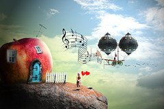 Music Traveler (cozmicberliner) Tags: balloon hotair bike man cycle girl harts apple windowsdoor landscape dream fantasy sky scenery nature green tale imagination romantic background fairy travel evening story mountain dreamland beautiful abstract mystery magic idyllic fictional quaint love joy surreal peaceful hill happy child concept tranquility steampunkmusic note thoughts