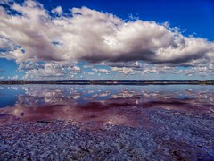Reflections of the Pink Salt Lake (Yours Behaviourally) Tags: water white purple scenic lake beauty nickfewings wow vivid landscape clouds sky natural nature vacation torrevieja spain travels reflection blue pink salt