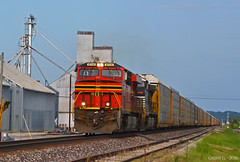 "Westbound Autorack Train in Orrick, MO (""Righteous"" Grant G.) Tags: auto railroad west heritage train ns norfolk railway trains southern missouri locomotive westbound unit autorack"