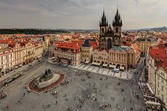 Old Town Square of Prague (Xenedis) Tags: architecture bohemia buildings eskrepublika church churchofourladybeforetn cityscape czechrepublic easterneurope europe hlavnmstopraha janhusmemorial oldtown oldtownsquare prague praha