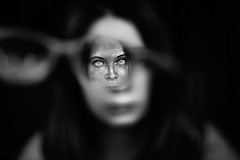(:*`*:.Diey :*`*:) Tags: face closer glasses freckles people girl portrait eyes dof nikon art artistic blackwhite