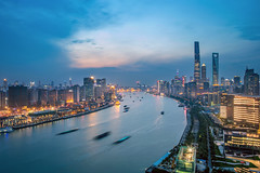 Cityscape of Shanghai City (HIKARU Pan) Tags: 1dx 24l asia canonef24mmf14liiusm china chinese eos1dx longexposure photography shanghai wideangle aerialview city cityscape horizontal landscape night nightscape outdoors