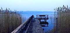 Silence (Chacky) Tags: landscape germany lake foggy 2015 cold minimal blur canon 600d canon600d