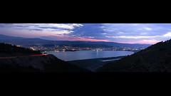 Ioannina city (Akis TzeStarr) Tags: greece ioannina epirus mitsikeli mountain nikon d3100 lake dusk pamvotida lighttrail longexposure panorama outdoor landscape cloud sky